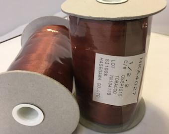 Yarn, 100% Silk, JapaneseTobacco Brown color, Hasegawa, Ribbon Yarn, Cone 50 gr