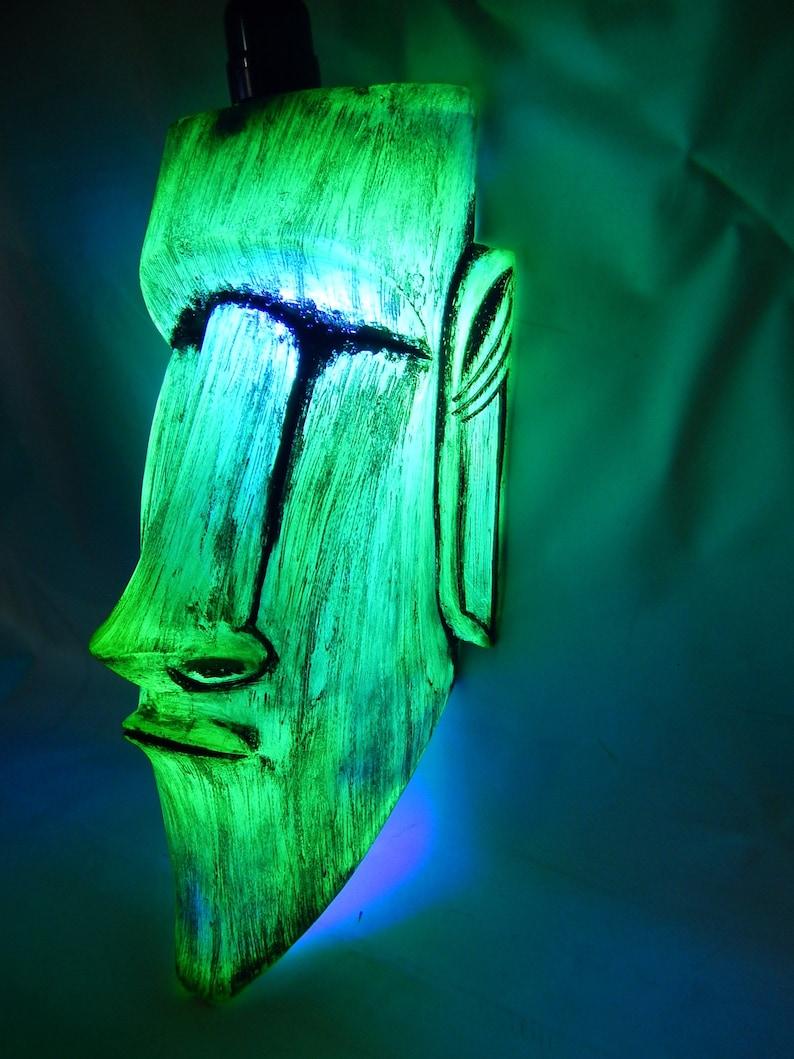 YELLOW Moai hanging lamp Tiki room bar light lava light neon image 0