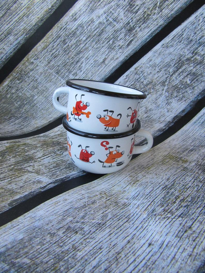 2307e76f6bb Hunde Tassen Geek Vintage set 2 Stück Zinn Becher camping | Etsy