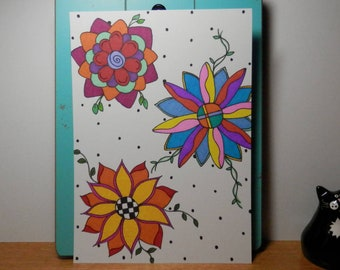 Sharpie Art, Original Artwork, Drawing, Unframed Art, Flowers, 5 x 7 Art
