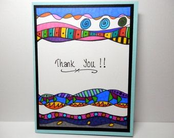 Thank You Card, Greeting Card, Blank Card, Handmade Original Card