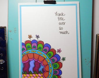 Thank You Card, Notecard, Handmade Card, Greeting Card, Artist Card, Handmade Original