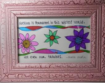 Sharpie Art, Framed Art, Original Artwork, 4 by 6 Framed Artwork