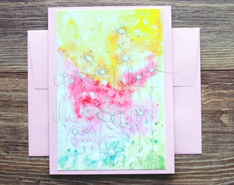 Rainbow Patch Blank A6 Greeting Card with Envelope / Art Print / Watercolor Card / Blank Greeting Card / All Occasion / Thank You Card