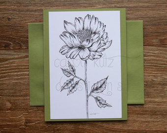 Peony Coloring Blank A6 Greeting Card with Envelope / Original Ink Drawing Print / Coloring Card / All Occasion / Blank Greeting Card
