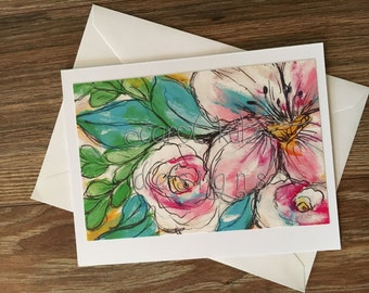 Flower Doodle Greeting Card with Envelope / floral print of original art / Doodles / Blank Greeting Card / All Occasion