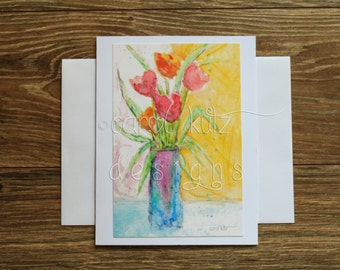 Flower Vase Greeting Card with Envelope /  print of original art / Blank Greeting Card / Art Print / All Occasion