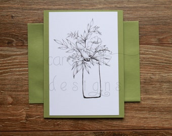 Flower Vase Coloring Blank A6 Greeting Card with Envelope / Original Ink Drawing Print / Coloring Card / All Occasion /Blank Greeting Card