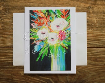 Flower Vase Greeting Card with Envelope / Print of Original Floral Art / Art Print / Blank Greeting Card / All Occasion