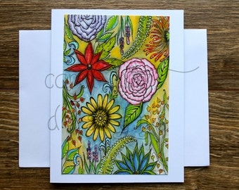 Garden Doodle Blank Greeting Card with Envelope / Print of My Original Art / Art Print / Blank Greeting Card / All Occasion