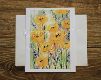 Flower Garden Greeting Card with Envelope / Print of Original Floral Art / Art Print / Blank Greeting Card / All Occasion