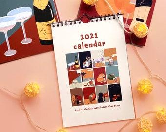 2021 Calendar   Retro Monthly Alcohol Calendar   2021 Illustrated Art Calendar