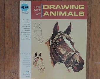 The Art of Drawing Animals, Vintage Oversized Drawing Book, The Grumbacher Library,1965, Vintage Art Instruction Book,How-To Book,Art Lesson