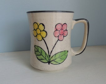 Vintage Speckled Stoneware Floral Coffee Mug, Marked Japan, Pink and Yellow Flowers,Black Speckled with Black Trim,Vintage Flower Coffee Mug