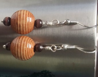 Wooden Earrings- Made From Wooden Beads