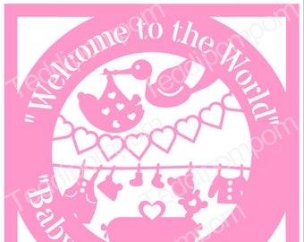 birth announcement template baby birth svg stencil newborn etsy