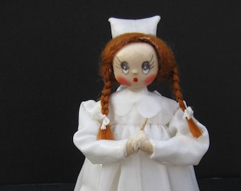 """Vtg Hand Crafted Paper Mache Small Figurine Red Hair Nurse 4.75"""" Gift for Nurse"""