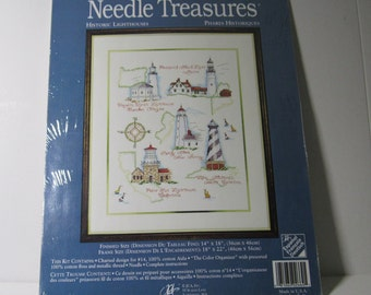 VTG Counted Cross Stitch Kit Needle Treasures Historic Lighthouses