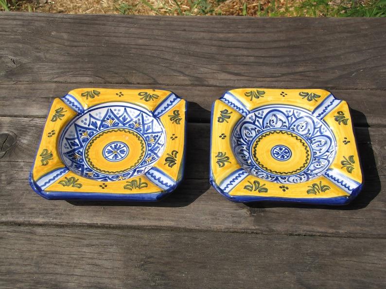 Santa Barbara Spanish Pottery Art Ashtrays de la cal barreira puente 1973 Trinket Dish