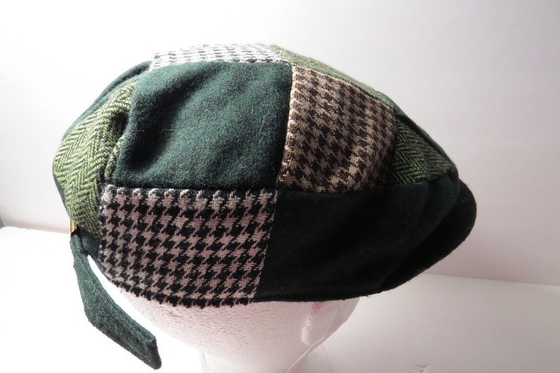 80dd80e7b Man of Aran Irish Wool Flat Cap Hounds-Tooth Patchwork Shamrock St  Patrick's Day