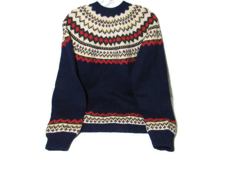 Vtg Wool Cardigan Sweater Hand Knit Norway Norsk Handsteikk AS Bergen L Fair Isle Holes