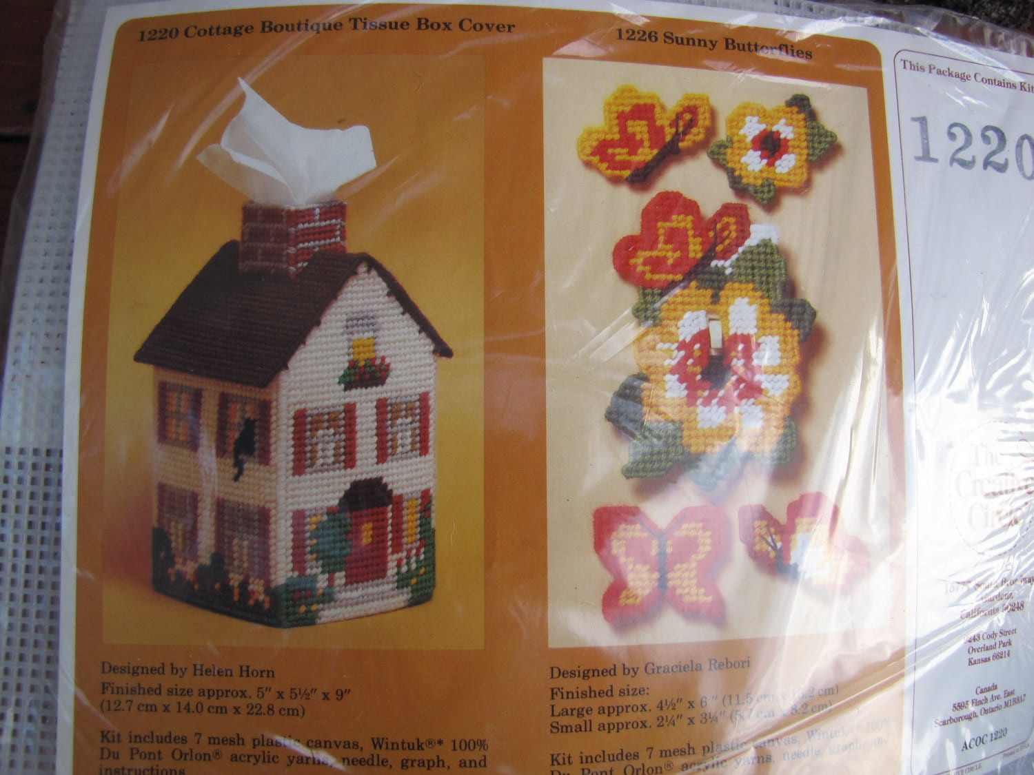 Tissue Box Houses 5 Designs Plastic Canvas PATTERN//INSTRUCTIONS Cat Bunny