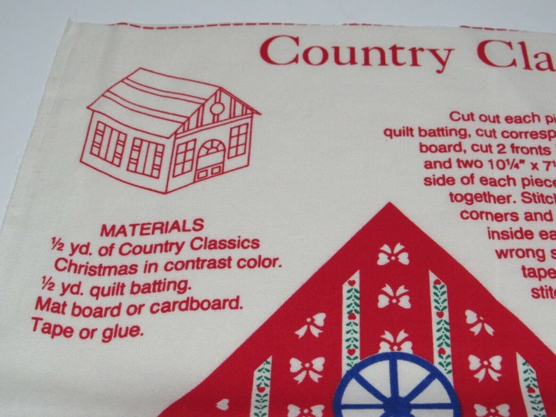 Sewing Panel Christmas House Country Classic Cut Sew Build Collectible