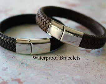 14fd8bdcbb4a4 ALL weather LEATHER BRACELET - Personalised Leather Bracelet for Men - Gift  For Men