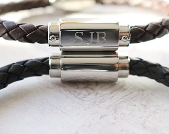 Boyfriend Gift - Mens Bracelet - Personalised Mens Leather Bracelet