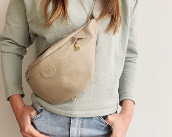 Personalised Leather Bum Bag Available in Stone or Black