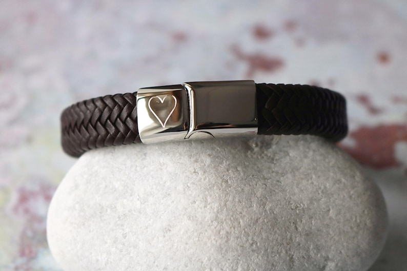 74ea7c26c39a Personalised Men s Heart Bracelet Gift For Him Leather