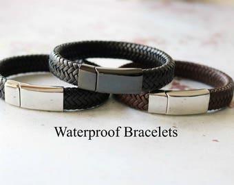 Gift for Him - Mens Leather Bracelet