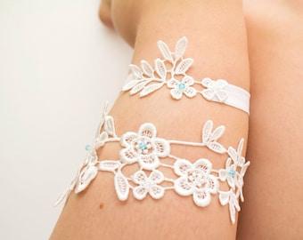 Wedding garter set ivory Something blue Lace garter Bridal garter Wedding garter Flower garter Bridal garter set blue