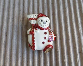 Christmas Snowman With The Broom Brooch Vintage