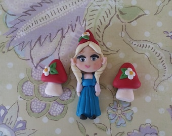 Gnome Girl And Tow Toadstools Beads Pendant Or Center Bow