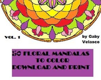 50 FLORAL MANDALAS. PDF digital download