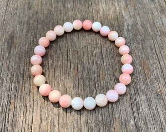 Natural Bahamas Pink Queen Conch Shell Carved Beads Stretch Bracelet with Anchor Silver Charm Pink Conch Jewellery Queen Conch Shell