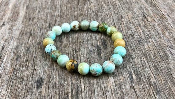 Hubei Turquoise Bracelet Genuine 7mm Natural Hubei Turquoise Round Gemstone Bracelet Beautiful Genuine Hubei Turquoise Rounds Beads