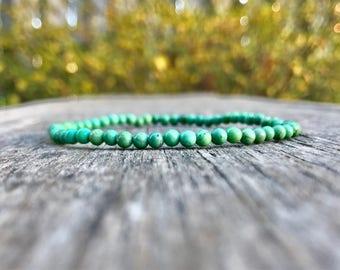 Carico Lake Mini Turquoise Beaded Bracelet Natural 4mm Green Carico Lake Turquoise Bracelet Beautiful Lander Nevada Carico Turquoise Rounds