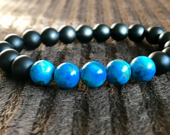 Handmade Blue Turquoise Bracelet Grade AAA Matte Onyx Mens Bracelet Unisex Bracelet Stack Bracelet Gift Bracelet Beaded Bracelet