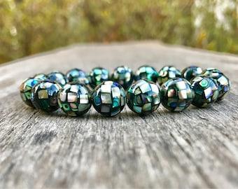 Abalone Shell Mosaic Bead Bracelet 10mm Abalone Shell Inlaid Mosaic Bead Bracelet Stack Bracelet Unisex Bracelet Gift Bracelet