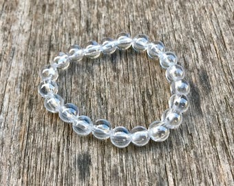 White Zircon Bracelet 8mm Natural Transparent Clear Zircon Beaded Gemstone Bracelet Stack Bracelet Unisex Bracelet Gift Bracelet