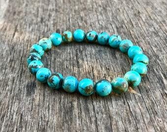 Chinese Turquoise Bracelet 8 mm Chinese Red Skin Turquoise Beaded Gemstone Bracelet Light Blue Turquoise Stack Bracelet Unisex Bracelet