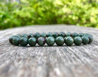 Solid Green Phantom Quartz Bracelet Handmade Grade AAA 7mm Lodolite Beaded Bracelet Lodelite Bracelet Lanscape Quartz Scenic Quartz