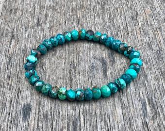Arizona Spiderweb Turquoise Faceted Rondelle Bracelet Grade AAA 7mm Spiderweb Turquoise Rondelle Gemstone Bracelet Jewelry Gift Bracelet