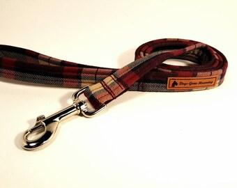 Dog lead, dog leash, wine tartan lead,  tartan dog lead, wine tartan dog leash, wine lead, tartan lead, dog accessory, dog fashion