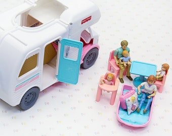 1990s Fisher Price Loving Family Vacation Camper Playset, Fisher Price Toys for Girls, Vintage Dollhouse Toy for Kid, 90s Toys, Vintage Toys
