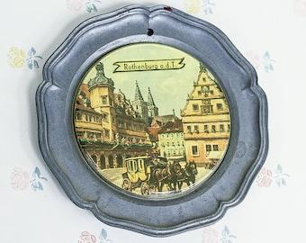 Vintage Metal Rothenburg ob der Tauber Coaster/Plate   Rothenburg o.d.t Metal Wall Plate   German Souvenir Plate   Rothenburg souvenir plate