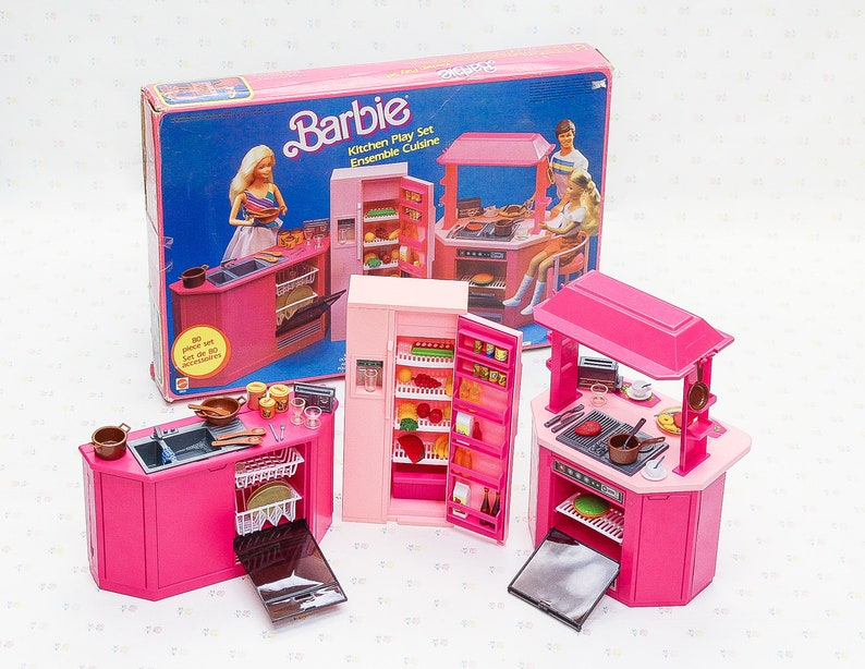 1980s Barbie Kitchen Play Set Vintage Barbie Playset Vintage Toy For Girls Mattel Barbie Furniture Toy Kitchen 80s Barbie Toys Girl Toy
