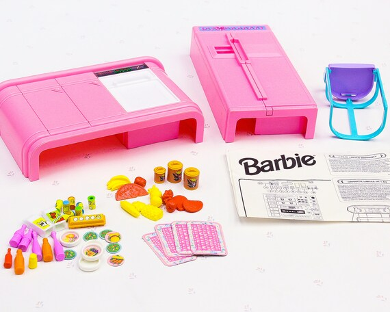 90s Vintage Barbie Kitchen Playset 90s Girl Toys Vintage Dollhouse Furniture Barbie Furniture For Dolls Vintage Doll Furniture Set